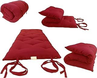 Red Full Size Traditional Japanese Floor Futon Mattresses, Foldable Cushion Mats, Yoga, Meditaion 54