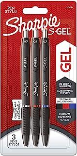 Sharpie S-Gel | Stylos gel | Pointe moyenne (0,7mm) | Encre noire, rouge et bleue | Lot de3