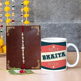 TIED RIBBONS Rakhi for Brother Combo - Festival Rakshabandhan for Brothers Rakhi Coffee Mug with Wishes Card