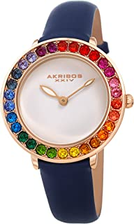Akribos Dazzling Colorful Swarovski Crystal Women's Watch - Stylish Ladies Watch with Comfortable Genuine Leather Strap- A...