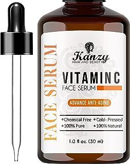KANZY Vitamine C-gezichtsserum met 20% hyaluronzuur voor littekens, anti-aging, anti-rimpel, donkere kringen en fijne lijn...