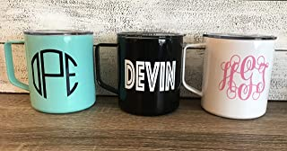 Personalized 14 oz Insulated Stainless Steel Coffee Mug with Custom Monogram Vinyl Decal by Avito - Includes Lid - Great Gift for Him/Her