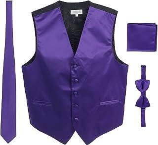 Men's Formal 4pc Satin Vest Necktie Bowtie and Pocket Square