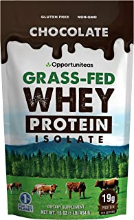 Chocolate Whey Protein Powder - Grass Fed Whey Isolate + Organic Cacao + Real Sugar + Himalayan Salt - Delicious Taste for...