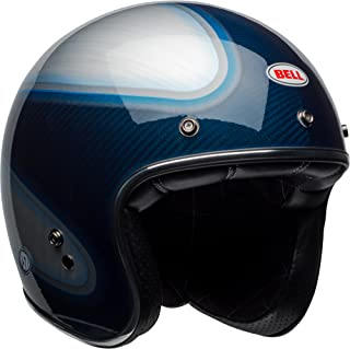 Bell Custom 500 Carbon Open-Face Motorcycle Helmet (RSD Gloss Candy Blue Carbon Jager, Large)