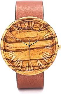 Reloj Madera Hombre, Ovi Watch 100% Hecho a Mano Natural de Zebra Madera Analógico Cuarzo Swiss con Correa Piel, Ligero, M...