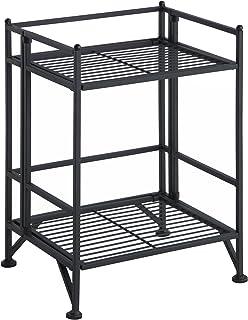 Convenience Concepts Xtra Storage 2 Tier Folding Metal Shelf, Black