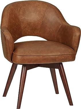 "Amazon Brand – Rivet Mid-Century Leather Swivel Chair, 23.6""W, Brown"
