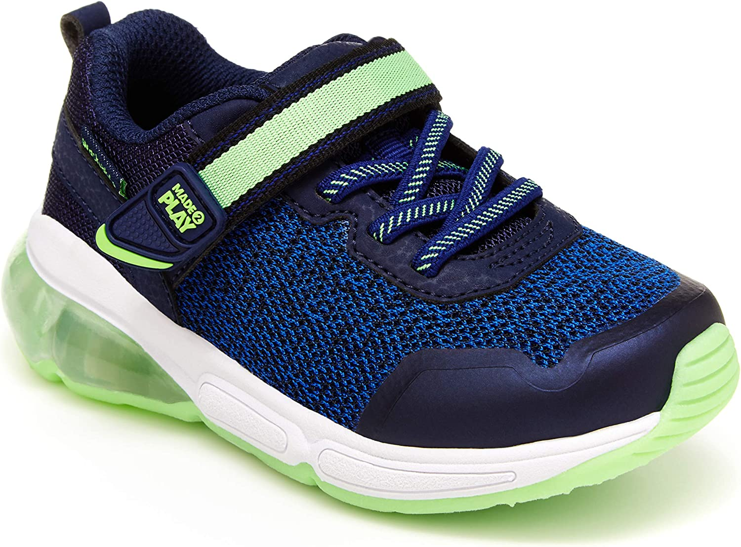 Stride Rite Boy's Made2Play Radiant Bounce Sneaker, Blue/Green, 9.5 Wide Toddler