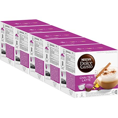 Nescafé Dolce Gusto Chai Tea Latte, Lot de 5, 5 x 16 Capsules (40 Portions)