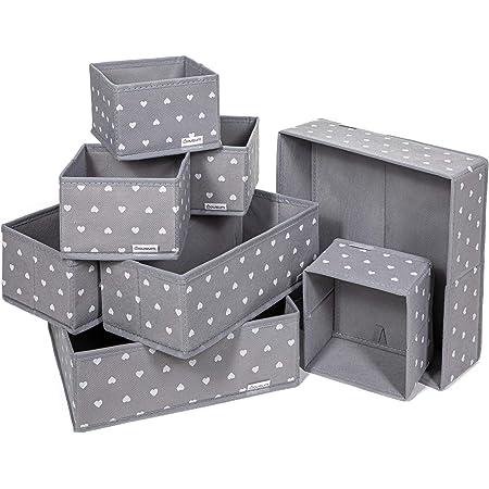 Lot de 8 Boites de Rangement - 3 tailles - Tiroir, armoire, étagère, placard - Panier pliable en tissu pour vêtements, jouets - Idéal : salon, salle de bain, chambre d'adulte ou d'enfant, bureau