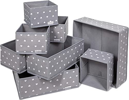 Lot de 8 Boites de Rangement - 3 tailles - Tiroir, armoire, étagère, placard - Panier pliable en tissu pour vêtements...