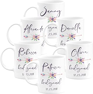 Personalized Bridesmaid Coffee Mug Gifts with Free Customization - 11oz & 15oz Ceramic Mugs - Wedding Gifts, Party Favors, Bridesmaid Gifts, Housewarming Gifts, Bachelorette Gift - Design 3 - Set of 6