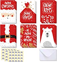 48-Pack Merry Christmas Cards Bulk Box Set- Ohuhu Xmas Winter Happy Holiday Greeting Cards of 6 Designs with Envelopes and Merry Christmas Stickers, 4 x 6 Inches