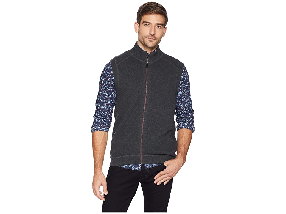 Tommy Bahama Flip Side Classic Zip Vest (Forged Iron Heather) Men