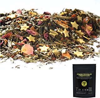 The Raja Shop Sencha Chocolate Stars Cinnamon Gourmet Green Tea Blend - Loose Leaf Tea - Hot & Ice Tea -- 1...
