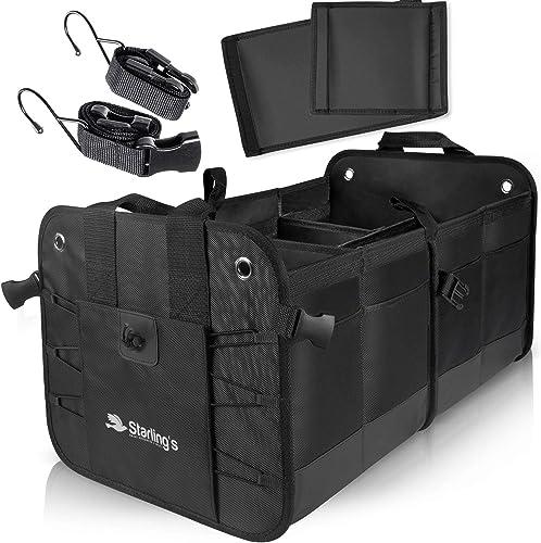 Starling's Car Trunk Organizer - Durable Storage SUV Cargo Organizer Adjustable (Black, 2 Compartments)