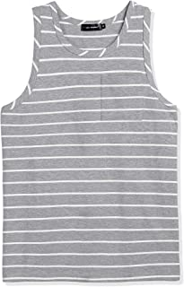 Lars Amadeus Men's Striped Vest Round Neck Color Block Sleeveless Basic Tank Top with Pocket