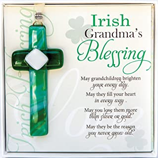 Irish Grandma Gift- Grandmother Blessing with Handmade in USA Glass Cross- New Grandma, Birthday, Mother's Day