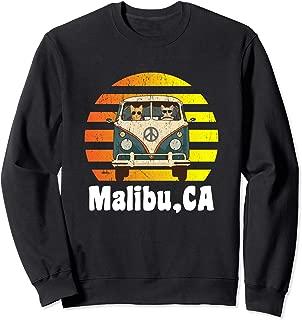 Malibu CA Road Trip Distressed Retro Vintage Hippie Van Sweatshirt
