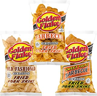 Golden Flake Fried Pork Skins Variety Pack: Old Fashioned, Barbecue, Sweet Heat Barbecue (1 Bag of Each) (3 Bags)