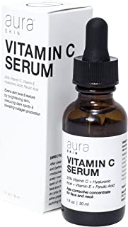 Aura Skin Vitamin C Serum, 20% Vitamin C, Hyaluronic Acid, Ferulic Acid, Vitamin E to Reduce Wrinkles and Boost Collagen, Anti-Aging