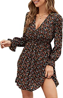 DIDK - Vestito corto da donna con volant a vita alta, stile bohémien, maniche lunghe, scollo a V, con stampa floreale