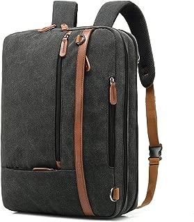 CoolBELL Convertible Backpack Shoulder Bag Messenger Bag Laptop Case Business Briefcase Leisure Handbag Multi-Functional Travel Rucksack Fits 17.3 Inch Laptop for Men/Women / Travel (Canvas Black)