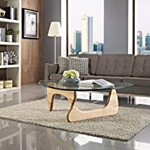 1inchHome Triangle Coffee Table, Glass Top End Table Modern Cocktail Wood Table with for Living Room, Lounge, Patio, Balcony, Study (Wood)