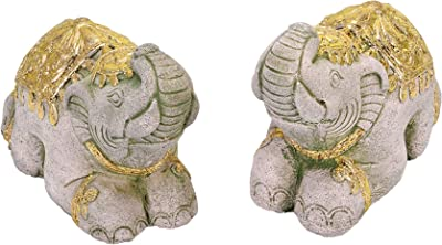 AeraVida Royal Thai Kneeling Elephants with Gold Paint Accents Figurines or Bookends