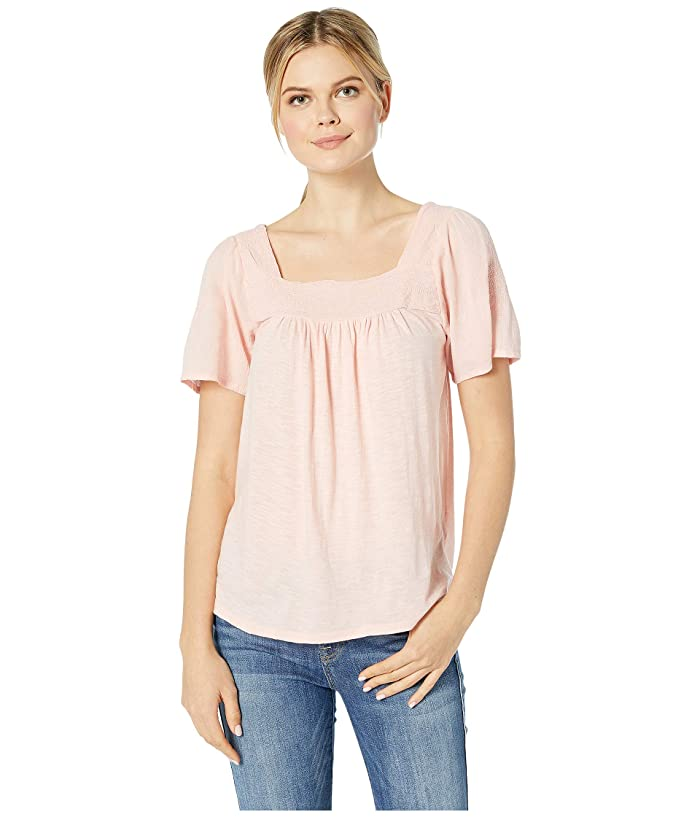 Lucky Brand  Embroidered Square Neck Top (Blossom) Womens T Shirt