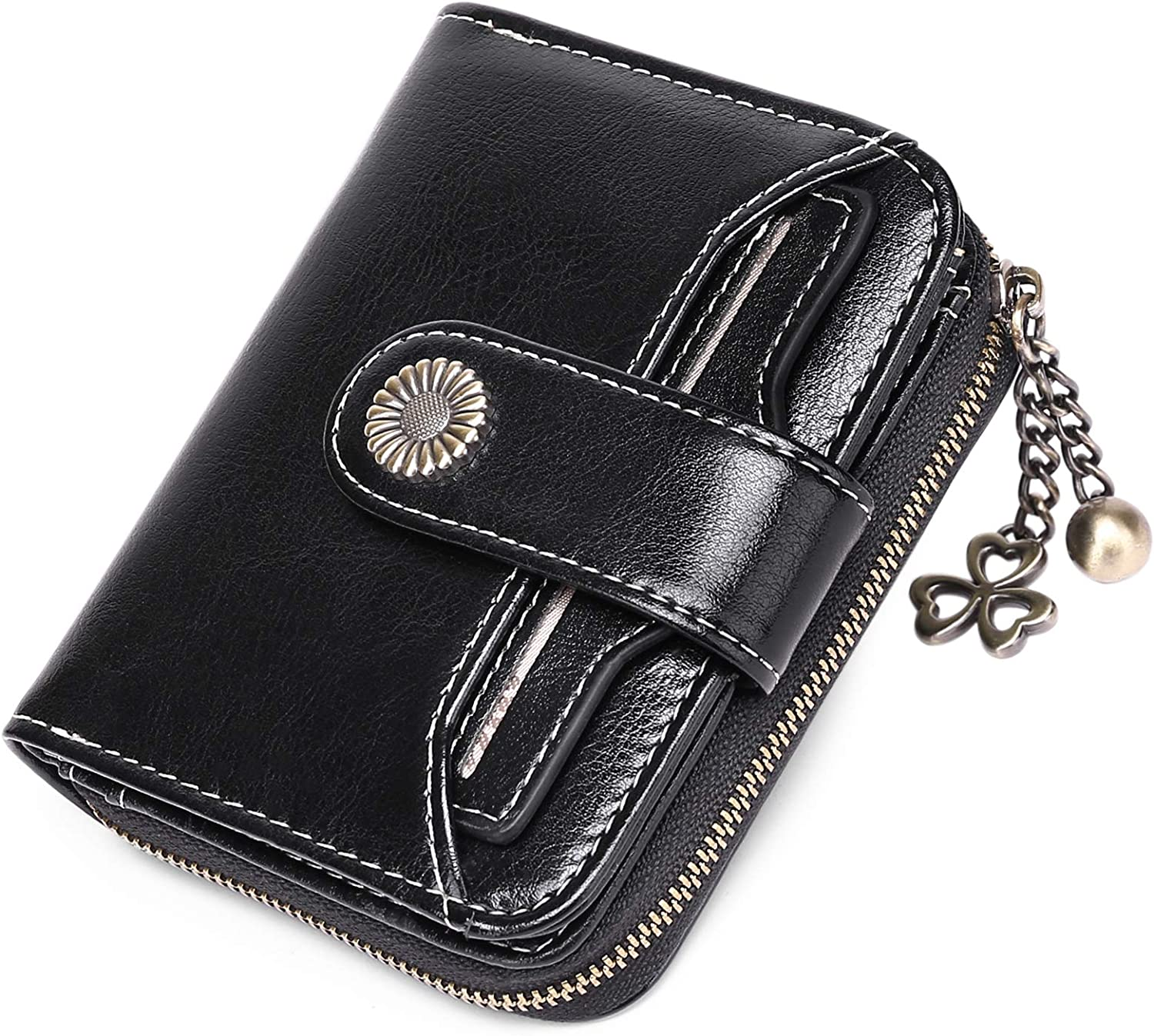 FALAN MULE Small Wallets for Women, RFID Blocking Genuine Leather Bifold Zippered Pocket Wallet Card Case Purse with ID Window