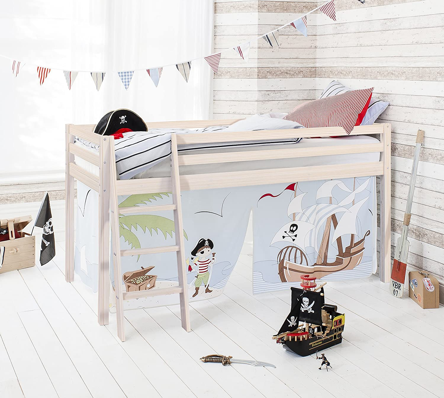Noa and Nani - Midsleeper Cabin Bed with Pirate Pete Tent - (Whitewashed Pine)