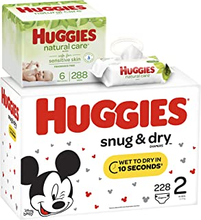 HUGGIES Snug & Dry Baby Diapers, Size 2 (fits 12-18 lb.), 228 Count AND Natural Care Unscented Baby Wipes, Sensitive, 6 Disposable Flip-top Packs (288 Total Wipes)