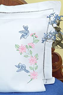 Jack Dempsey Needle Art 160031 Perle Edge Pillowcase, Birds Pillowcase with Perle Edge Finish, 20-Inch by 30-Inch, White
