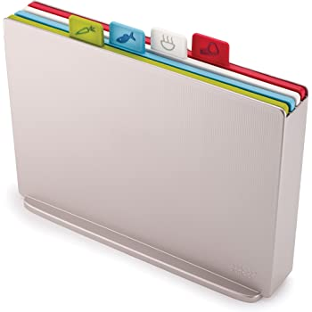 Joseph Joseph Index Plastic Cutting Board Set with Storage Case Color-Coded Dishwasher-Safe Non-Slip, Large, Silver