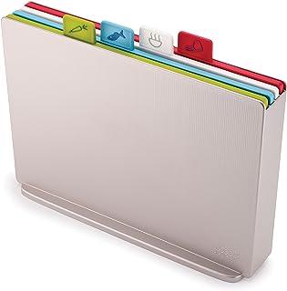 Joseph Joseph Index Plastic Cutting Board Set with Storage Case Color-Coded Dishwasher-Safe Non-Slip, Large, Silver (60134)