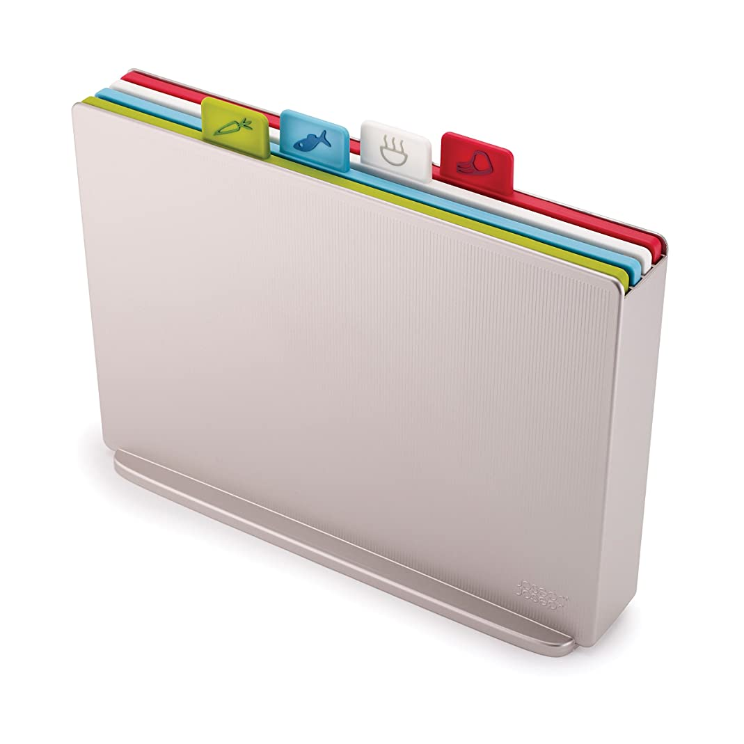 Joseph Joseph 60134 Index Plastic Cutting Board Set with Storage Case Color-Coded Dishwasher-Safe Non-Slip, Large, Silver cmio57591