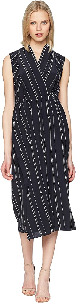 Stripe Draped Cross Front Dress