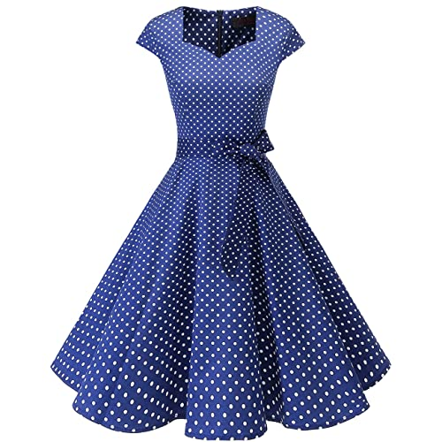 869e9a83454d DRESSTELLS Retro 1950s Cocktail Dresses Vintage Swing Dress with Cap-Sleeves