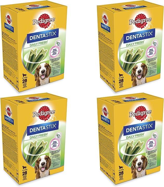Pedigree dentastix fresh 112 snack per la igiene orale (cane medio 10-25 kg)- 4 confezioni da da 28 pezzi(112) 282823