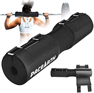 ?2020 Upgraded?PACEARTH Barbell Pad with Fastening Cloth and Carry Bag Advanced Neck & Shoulder Ergonomic Protective Pad for All Standard and Olympic Bars Portable Squat Pad for Weightlifting, Lunges