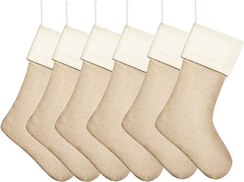 "Kunyida 18"" Burlap Christmas Stockings for Holiday Decor Plain (8)"