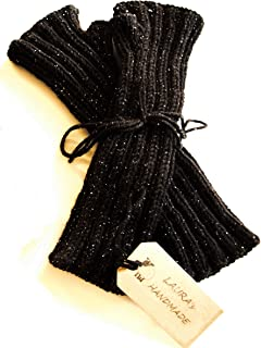 Manicotti neri da donna in pura lana vergine con delicati fili di lamè