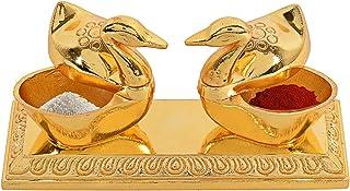 CraftVatika Golden Metal Love Bird Duck Pair   Chandan Roli Chopda Box   Festive Gift and Pooja (Worship) Home Decor   Jew...
