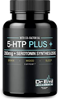 200 MG 5-HTP Plus Serotonin Synthesizers and Cofactor B6 for Improved Serotonin Conversion - Enhanced 5HTP Supplement for ...