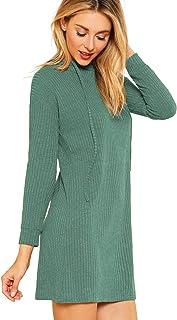 SweatyRocks Women's Knit Hoodie Casual Drawstring Long Sleeve Stretch Slim Fit Sweater Dress