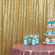 GFCC Sparkly Gold Sequin Backdrop Curtain 10x10ft Sequin Satin Backdrop for Wedding Party Brithday Photo Booth Backdrop Photography Background Decorations