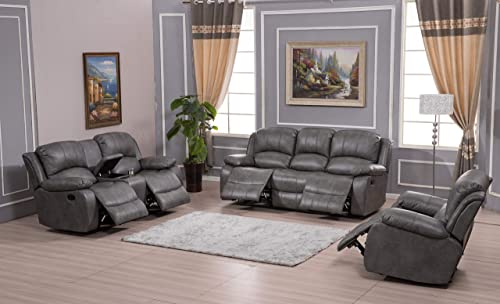 Betsy Furniture 3PC Bonded Leather Recliner Set Living Room Set, Sofa Loveseat Chair Pillow Top Backrest and Armrests...
