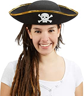 Relaxdays Sombrero Pirata, Gorro Capitán, Accesorio Disfraz Corsario, con Calavera, Poliéster, Talla Única, 1 Ud, Negro, Color, Medium (10020589)
